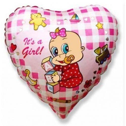Фольгированный шар«Сердце It's a girl»