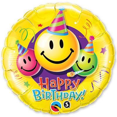 Фольгированный круг «Heppy birthday smail»
