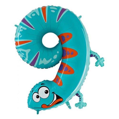 Фольгированная цифра 9 «Ящерица»