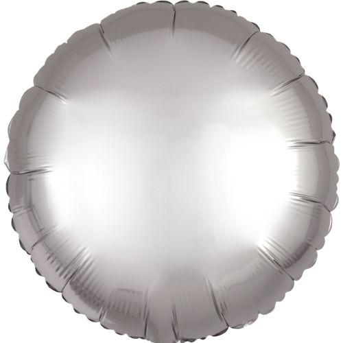 Фольгированный круг «серебро сатин»