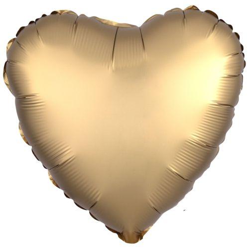 Фольгированное сердце «золото сатин»