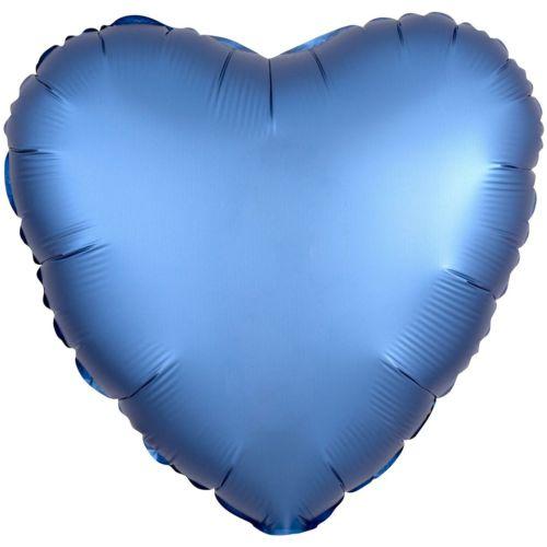 Фольгированное сердце «синий сатин»