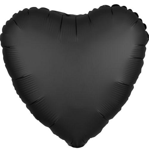 Фольгированное сердце «черный сатин»