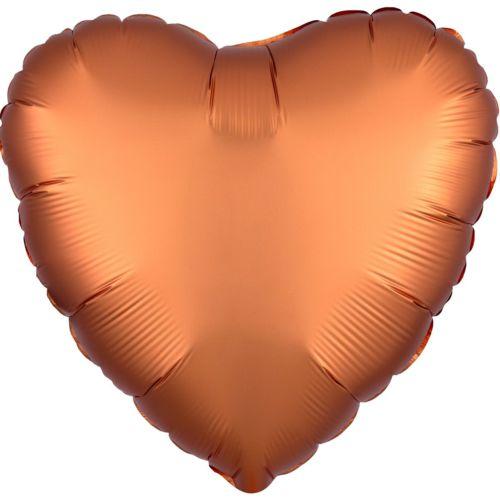 Фольгированное сердце «оранжевый сатин»