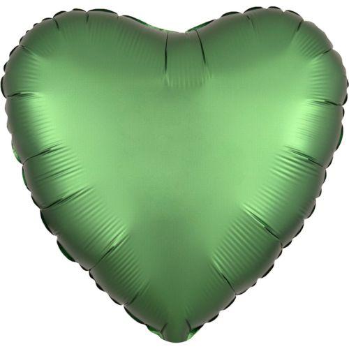 Фольгированное сердце «зелёный сатин»