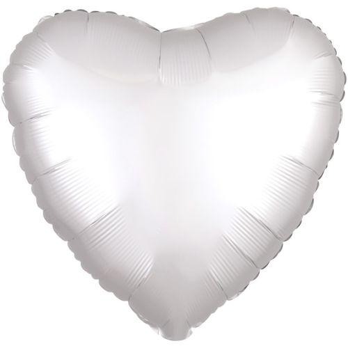 Фольгированное сердце «белый сатин»