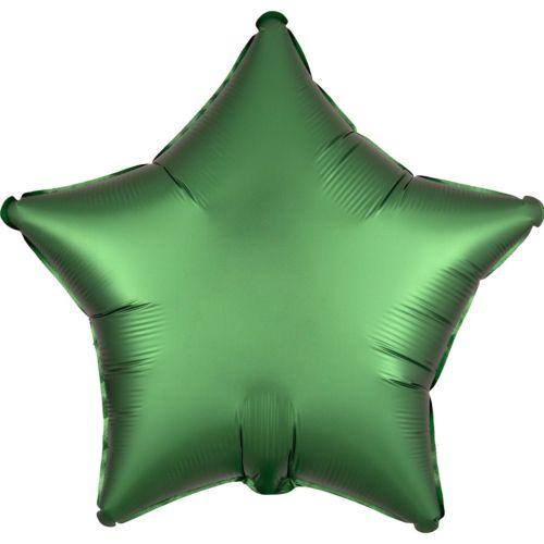 Фольгированная звезда «зелёный сатин»