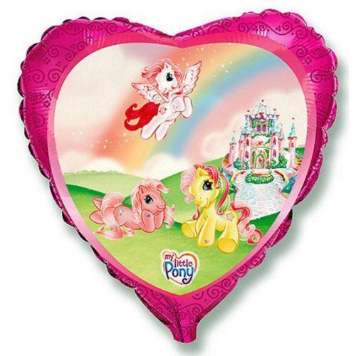 Фольгированное сердце «Пони на радуге»
