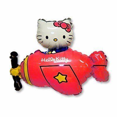 Фольгированный шар «Китти в самолёте»